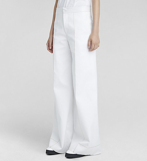CALVINKLEIN Double Cotton Palazzo Trousers - WHITE - CK COLLECTION TROUSERS - main image