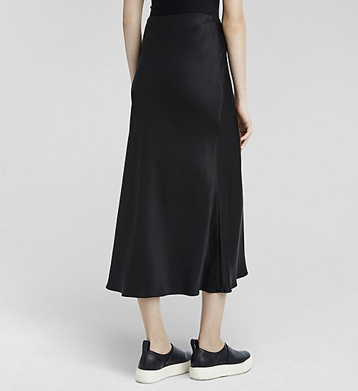 Silk Satin Skirt - JET BLACK - CK COLLECTION SKIRTS - detail image 1