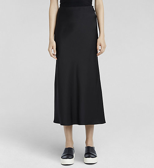 Silk Satin Skirt - JET BLACK - CK COLLECTION SKIRTS - main image