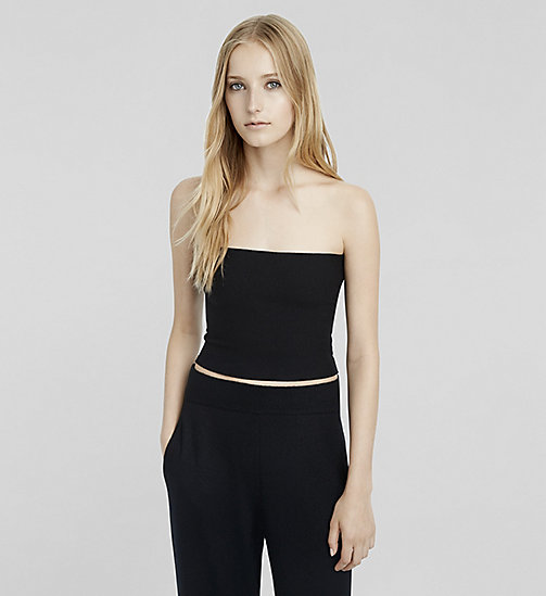 Stretch Cashmere Tube Top - JET BLACK - CK COLLECTION CLOTHING - main image