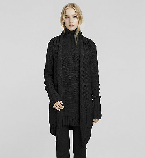 Cashmere Chunky Rib Cardigan - JET BLACK - CK COLLECTION JUMPERS - main image