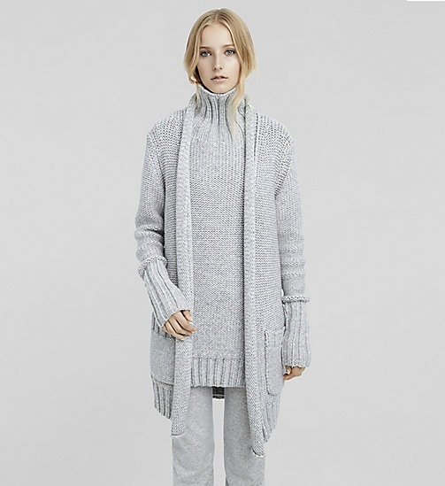 Cashmere Chunky Rib Cardigan - LIGHTHEATHER - CK COLLECTION JUMPERS - main image