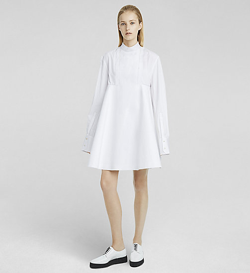 Cotton Poplin Flared Dress - WHITE - CK COLLECTION  - main image