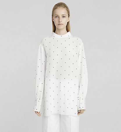 CALVIN KLEIN COLLECTION Blouse en crêpe de Chine à petits points W71T059COL135