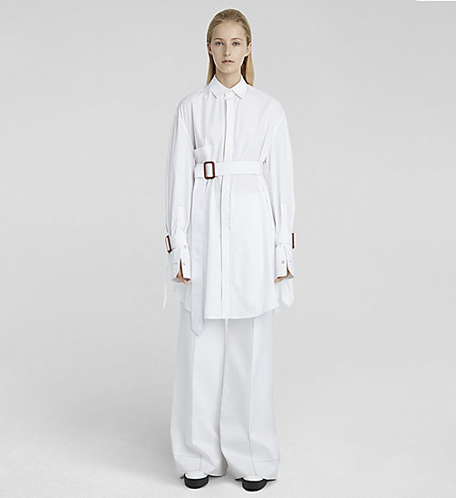 CKJEANS Oversized Shirt aus Popeline mit Gürtel - WHITE - CK COLLECTION BLUSEN - main image