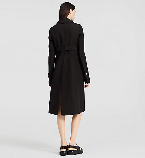 CKCOLLECTION Silk Paper Faille Belted Trench Coat - BLACK - CK COLLECTION  - detail image 1