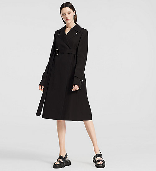 CKCOLLECTION Silk Paper Faille Belted Trench Coat - BLACK - CK COLLECTION  - main image