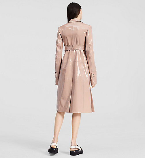 Patent Leather Belted Coat - LIGHT PASTEL PINK - CK COLLECTION  - detail image 1