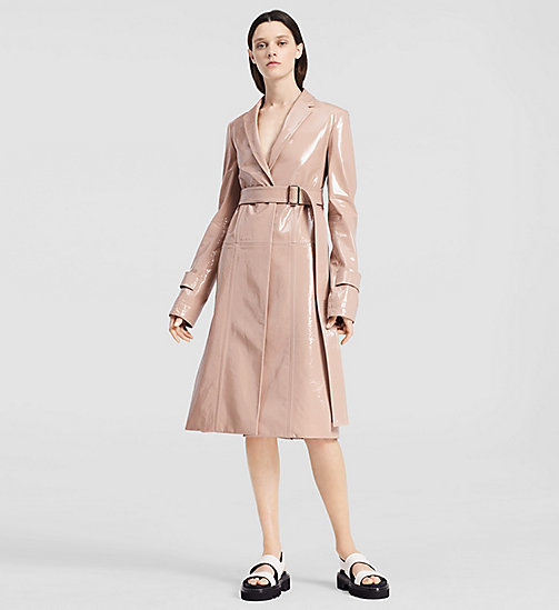 Patent Leather Belted Coat - LIGHT PASTEL PINK - CK COLLECTION  - main image