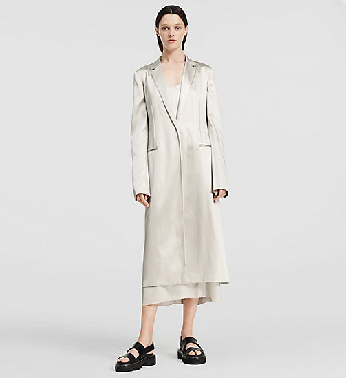 Fluid Satin Evening Coat - SILVER - CK COLLECTION OUTERWEAR - main image