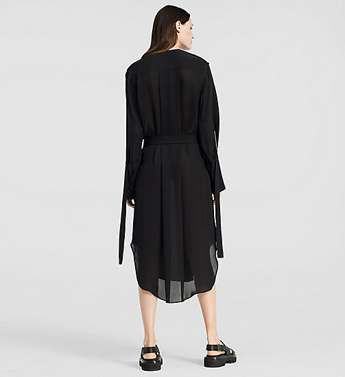 Double Georgette Shirt Dress - BLACK - CK COLLECTION TROUSERS - detail image 1