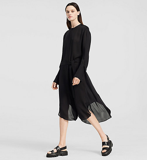 Double Georgette Shirt Dress - BLACK - CK COLLECTION TROUSERS - main image