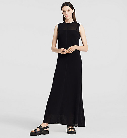 CKCOLLECTION Ribbed Cashmere Flared Dress - BLACK - CK COLLECTION  - main image