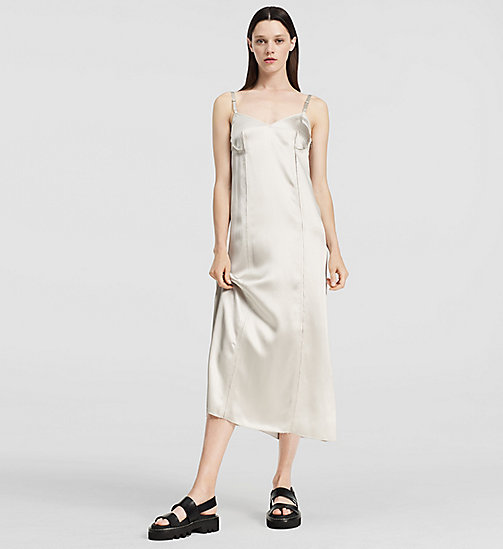 Fluid Satin Slip Dress - SILVER - CK COLLECTION TROUSERS - main image