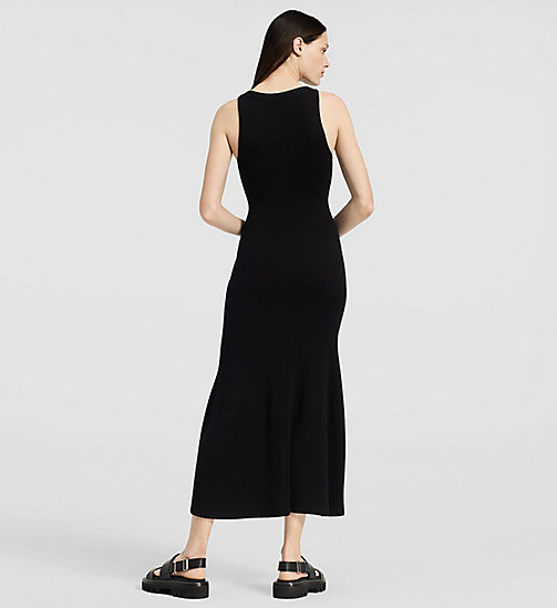 Crepe Gauze Long Dress - BLACK - CK COLLECTION TROUSERS - detail image 1