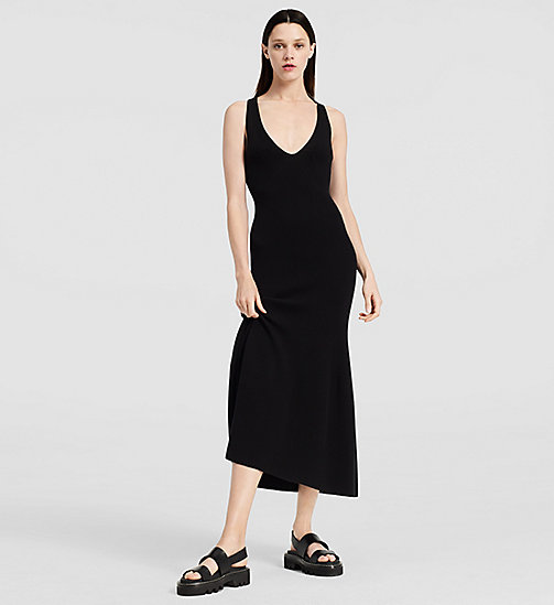 Crepe Gauze Long Dress - BLACK - CK COLLECTION  - main image