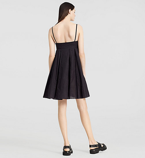 CALVINKLEIN Cotton Pleated Mini Dress - BLACK - CK COLLECTION DRESSES - detail image 1