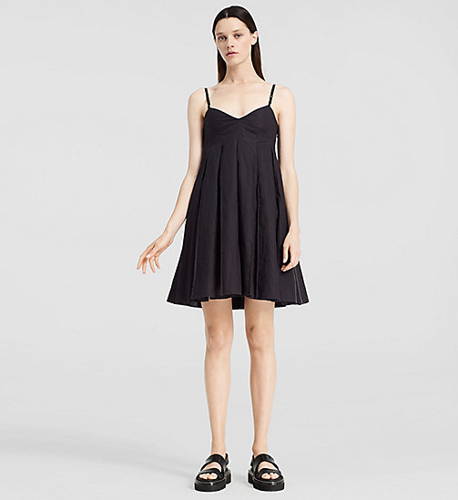Cotton Pleated Mini Dress - BLACK - CK COLLECTION  - main image