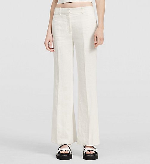 Herringbone Linen Ankle Trousers - NATURAL WHITE - CK COLLECTION TROUSERS - main image