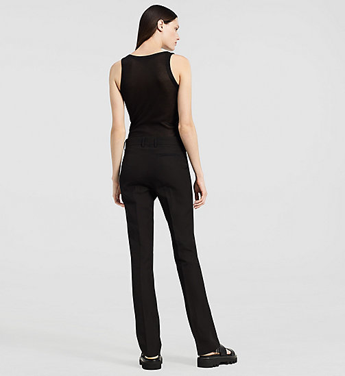 Silk Paper Faille Straight Trousers - BLACK - CK COLLECTION  - detail image 1