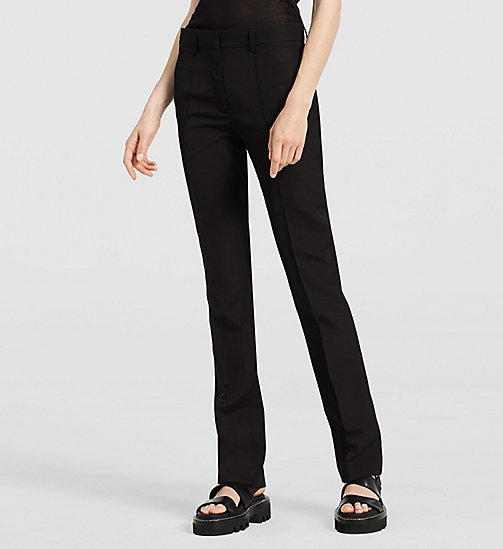 Silk Paper Faille Straight Trousers - BLACK - CK COLLECTION TROUSERS - main image