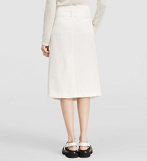 Viscose Linen Twill Belted Skirt - NATURAL WHITE - CK COLLECTION  - detail image 1