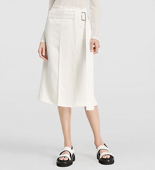Viscose Linen Twill Belted Skirt - NATURAL WHITE - CK COLLECTION SKIRTS - main image