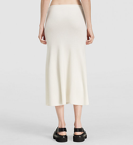 Ribbed Cashmere Flared Skirt - NATURAL WHITE - CK COLLECTION  - detail image 1