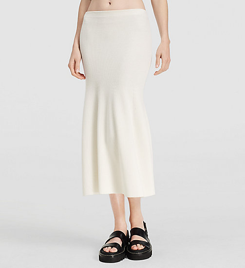 Ribbed Cashmere Flared Skirt - NATURAL WHITE - CK COLLECTION  - main image