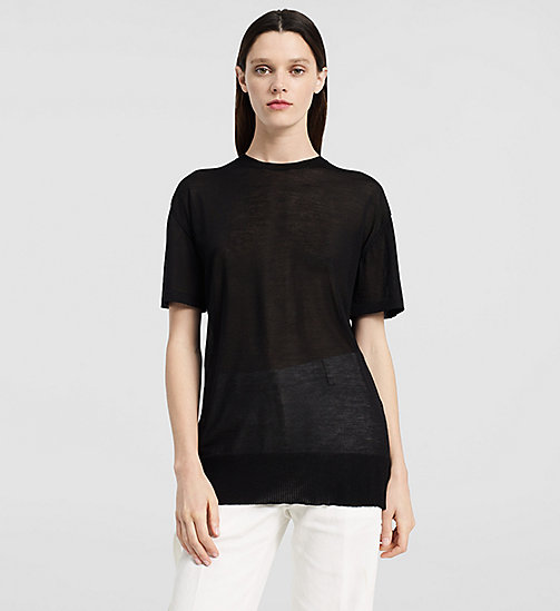 Extrafine Cashmere Oversized T-shirt - BLACK - CK COLLECTION  - main image