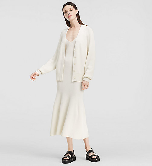 Ribbed Cashmere Oversized Cardigan - NATURAL WHITE - CK COLLECTION JUMPERS - main image