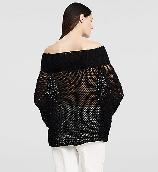 Open Stitch Off Shoulder Top - BLACK - CK COLLECTION JUMPERS - detail image 1