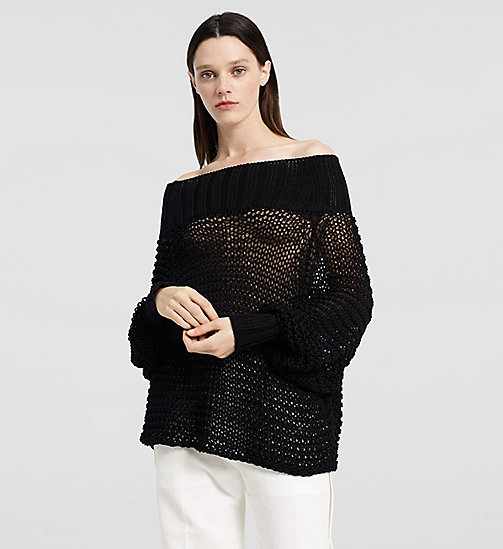 Open Stitch Off Shoulder Top - BLACK - CK COLLECTION JUMPERS - main image