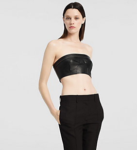CKJEANS Trägerloses Bustier aus mattem Nappa - BLACK - CK COLLECTION JACKEN - main image
