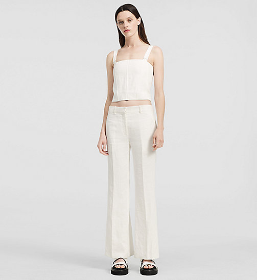 Herringbone Linen Bustier Top - NATURAL WHITE - CK COLLECTION  - main image