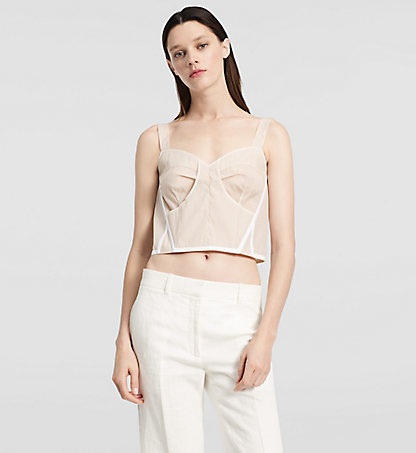 CALVIN KLEIN COLLECTION Organza Bustier Top W72T118COL685