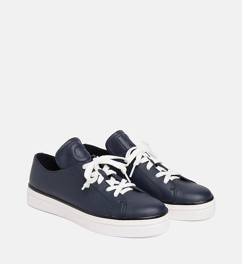 CALVIN KLEIN Leather Trainers - PLATINUM WHITE - CALVIN KLEIN WOMEN - detail image 1