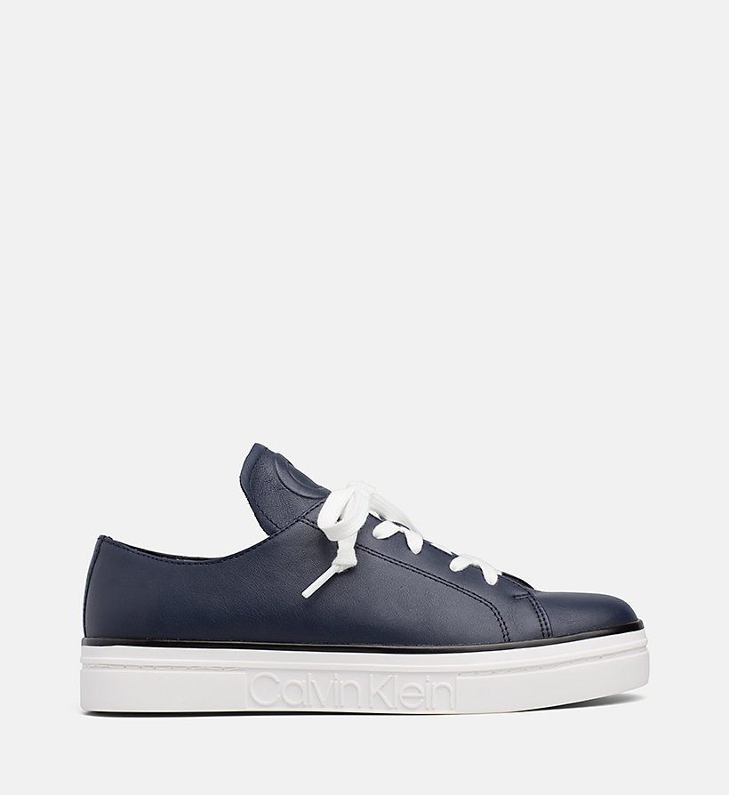 CALVIN KLEIN Leather Trainers - PLATINUM WHITE - CALVIN KLEIN WOMEN - main image