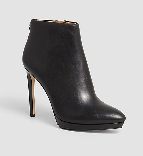 CALVINKLEIN Leather Zip Ankle Boots - BLACK - CALVIN KLEIN WOMEN - main image