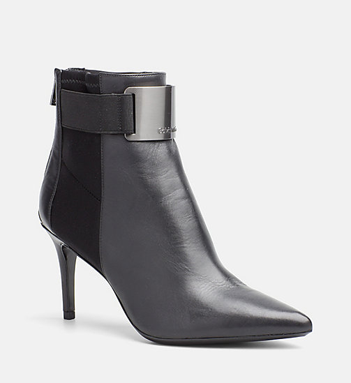 CALVINKLEIN Leather Zip Ankle Boots - BLACK/GUN METAL -  BOOTS - main image
