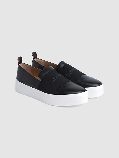 CALVINKLEIN Leather Slip-On Shoes - BLACK / BLACK - CALVIN KLEIN FLAT SHOES - detail image 1