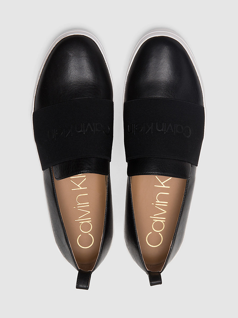 CALVINKLEIN Leather Slip-On Shoes - BLACK/SOFT WHITE - CALVIN KLEIN WOMEN - detail image 3