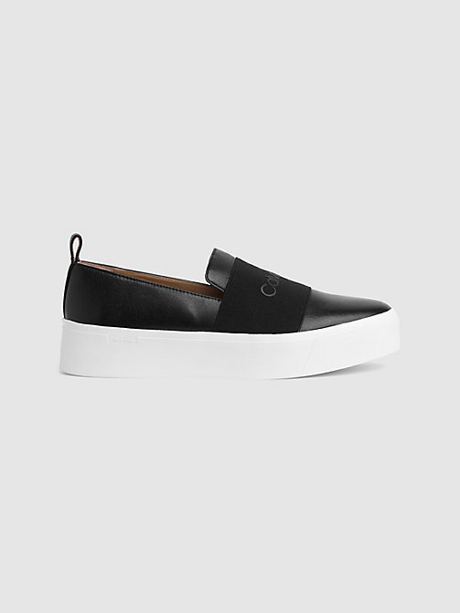 CALVIN KLEIN Leather Slip-On Shoes - BLACK/BLACK - CALVIN KLEIN FLAT SHOES - main image