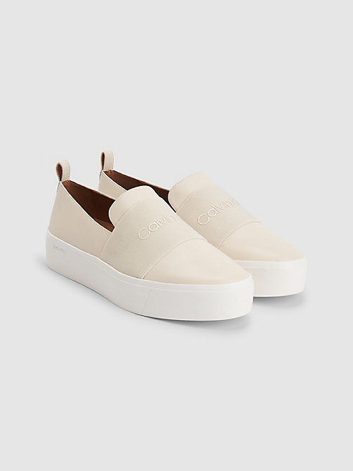 CALVINKLEIN Leather Slip-On Shoes - BLACK/SOFT WHITE - CALVIN KLEIN FLAT SHOES - detail image 1
