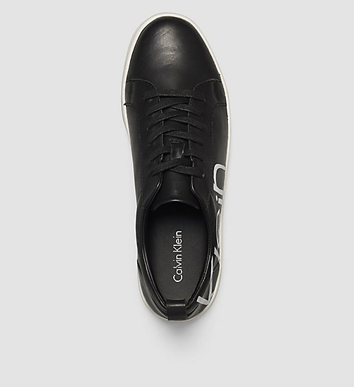 CALVINKLEIN Leather Sneakers - WHITE/BLACK/WHITE - CALVIN KLEIN TRAINERS - detail image 1