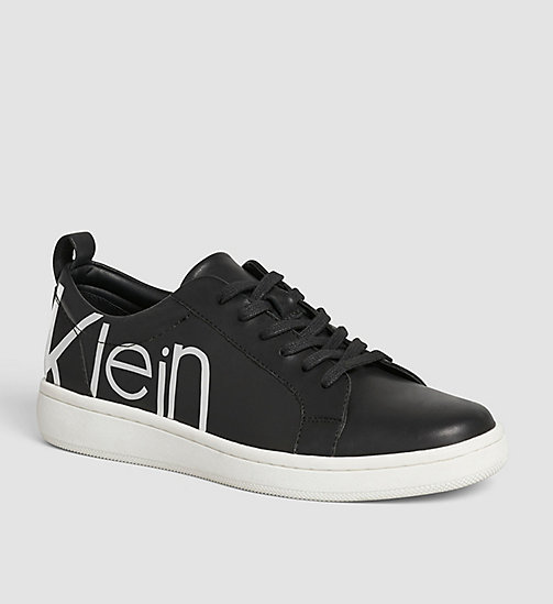 CALVINKLEIN Leather Sneakers - WHITE/BLACK/WHITE - CALVIN KLEIN TRAINERS - main image