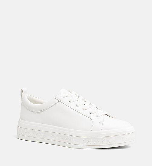 CALVINKLEIN Leather Sneakers - PLATINUM WHITE - CALVIN KLEIN WOMEN - main image
