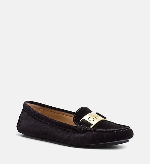 CALVIN KLEIN Velvet Loafers - BLACK - CALVIN KLEIN FLAT SHOES - main image
