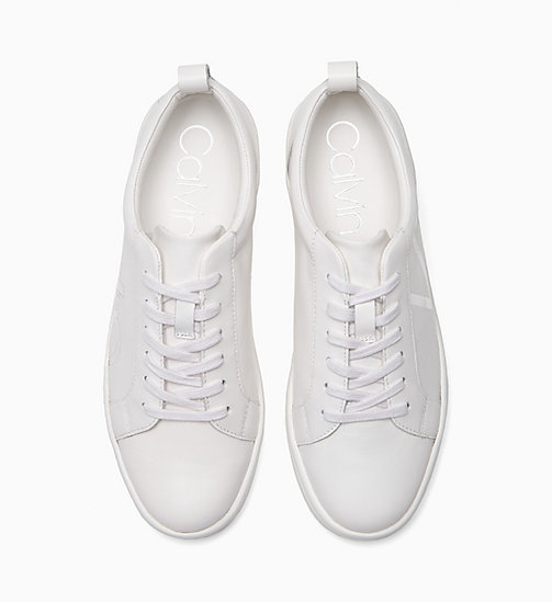 CALVINKLEIN Leather Sneakers - PLATINUM WHITE - CALVIN KLEIN WOMEN - detail image 1