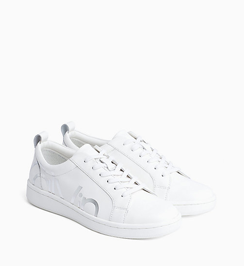 CALVIN KLEIN Leather Trainers - PLATINUM WHITE - CALVIN KLEIN TRAINERS - detail image 1